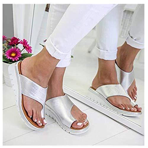 2019 Neu Womens Fashion Flats Open Toe Ankle Beach Shoes Roman Slippers Sandals Mode Retro Damen Big Toe Hallux Valgus Unterstützung Plattform Sandale Schuhe Für Die Behandlung,Schwarz,Grau,Silber