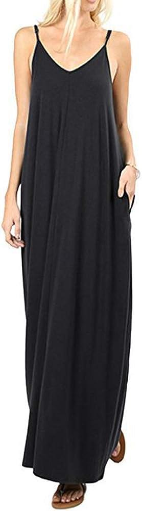 Gdtime Femme Robe /Ét/é Longue /à Bretelles Robe Maxi sans Manches Col V//avec Poche Uni