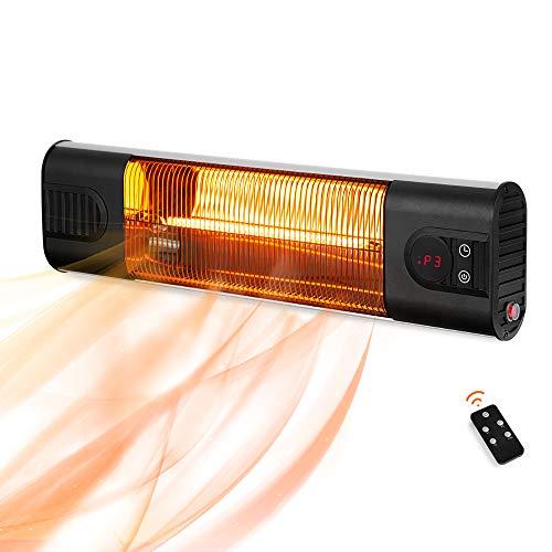 PAMAPIC - Calefactor eléctrico de pared para exteriores con control remoto, 3 ajustes de calor, calentador instantáneo para interiores y exteriores con pantalla LCD (plateado)