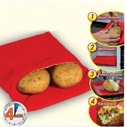 Romote Red Lavabile Fornello Borsa Patate al Forno a microonde Cottura di Patate veloci Fast (cuochi 4 Patate in Una Sola Volta)