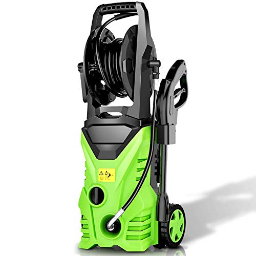Homdox Electric Pressure Washer 2850 PSI,1.7 GPM Power Washer 1800W High Pressure Washer Car Washer with 5 Nozzles, Hose Reel (Green)