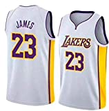Angel ZYJ Lebron James, NO.23 Lakers Retro, Camiseta de Jugador de Básquetbol,Transpirable y Resistente al Desgaste Camiseta de Fan de Hombres (Blanco, S)