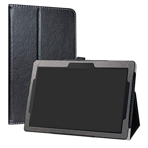 "Lenovo Tab E10 Case,LiuShan PU Leather Slim Folding Stand Cover for 10.1"" Lenovo Tab E10 2018 Android Tablet PC,Black"