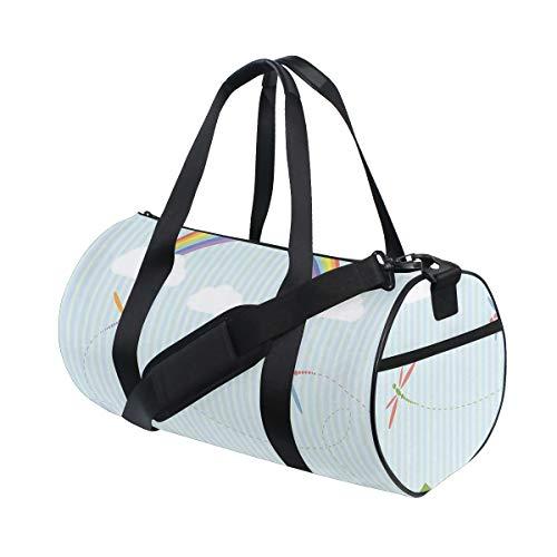 ZOMOY Sporttasche,Bunte Libellen, die über Zäune Sunny Rainbow Day Kids Nursery Treiben,Neue Bedruckte Eimer Sporttasche Fitness Taschen Reisetasche Gepäck Leinwand Handtasche
