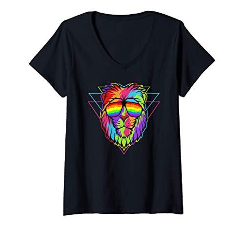 Mujer Madrid Pride - Igualdad - León arcoiris con gafas Camiseta Cuello V