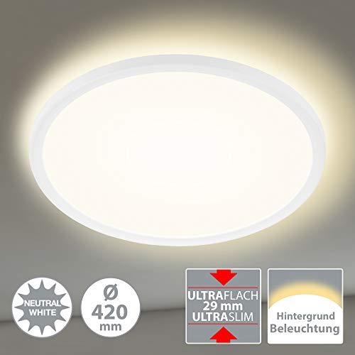 Briloner Leuchten LED Panel, Deckenleuchte, Deckenlampe, inkl. Hintergrundbeleuchtungseffekt, 22 Watt, 3.000 Lumen, 4.000 Kelvin, Weiß, Rund, Ø 42cm, W