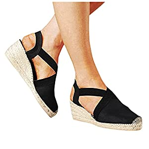 Aniywn Womens Closed Cap Toe Espadrilles Wedge Shoes Platform Heel Elastic Ankle Strap Dress Sandals Comfy Slip On Sandals Black
