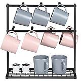 Suporte de suporte para canecas de café OROPY, suporte para árvores de canecas com bancada de 2 camadas para copos de canecas de café, para 14 canecas (metal, preto)