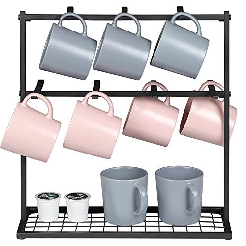 OROPY Coffee Mug Holder Stand, 2 Tier Countertop Mug Tree Holder Rack for Coffee Mugs Cups, Holds 14 Mugs (Metal, Black)