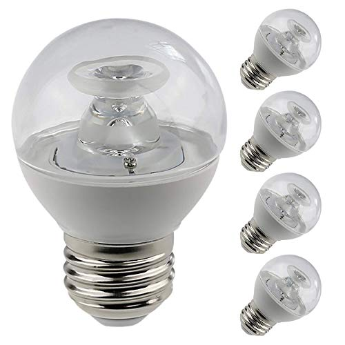 Candex LED G16.5 Globe, E26 Medium Base, 5W (40W Equivalent), 3000K Warm White, Dimmable (4 Pack)