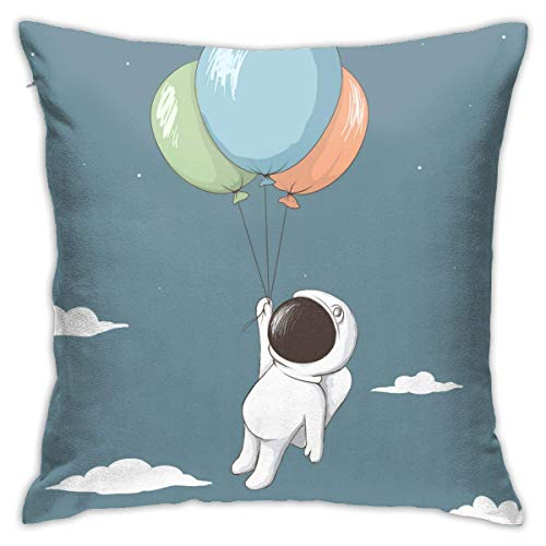 AOOEDM Juliet store Little Astronaut Keeps to Balloons Throw Pillow Covers Cotton Polyester Cushion Cover Cases Pillowcases Sofa Home Decor 18 x 18 Inch 45cm