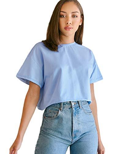 SweatyRocks - playera de manga corta para mujer, de algodón, color negro, talla S, Celeste (Baby Blue), S