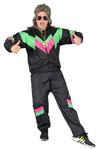 Foxxeo 80er Jahre Kostüm für Erwachsene Premium 80s Trainingsanzug Assianzug Assi - Herren Größe S-XXXXL - Fasching Karneval Anzug, Farbe Schwarz-grün-pink, Größe: L