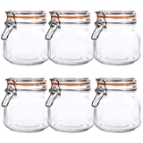 Kingrol 6 Pack 25 Ounces SquareGlass Jars with Airtight Lid,Wide Mouth Preserving Jarfor...