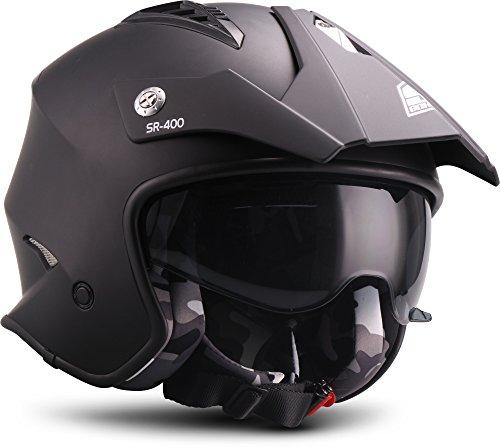 "SOXON® SR-400 Mono ""Black"" · Jet-Helm · Motorrad-Helm Roller-Helm Scooter-Helm Moped Mofa-Helm Chopper Retro Vespa Vintage Pilot · ECE 22.05 Sonnenvisier Schnellverschluss Tasche M (57-58cm)"