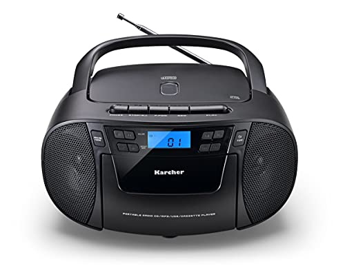 Karcher RR 5045 - Radio portátil (Reproductor de CD, Cassette, Radio FM, batería/Red, USB y Entrada Auxiliar), Color Negro