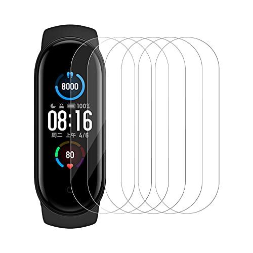 PUUDUU [6 Stück Schutzfolie für Xiaomi Mi Band 5,Kompatibel mit Hülle,Kratzfest,Anti-Bläschen,Klar HD,Anti-Fingerprint.Xiaomi Mi Band 5 Weich TPU Bildschirmschutz