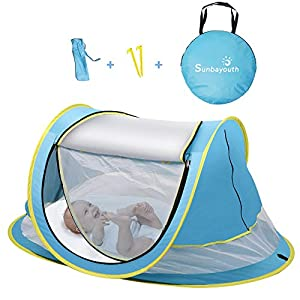 SUNBA YOUTH Baby Tent, Portable Baby Travel Bed, UPF 50+ Sun Shelters for Infant, Pop Up Beach Tent, Baby Travel Crib with Mosquito Net, Sun Shade …