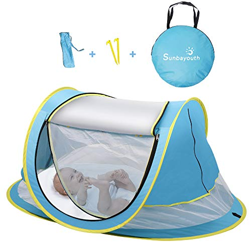 SUNBA YOUTH Baby Tent, Portable Baby Travel Bed, UPF 50+ Sun Shelters for Infant, Pop Up Beach Tent, Baby Travel Crib with Mosquito Net, Sun Shade … (Blue)