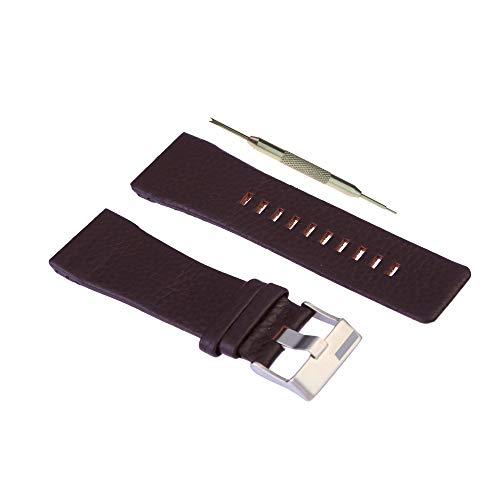 WBH Band compatible con barril diesel DZ1113 – DZ1114 – DZ1115 – Correa de cuero 28 mm negro marrón con herramienta de barra de resorte de regalo – Correa de reloj de...
