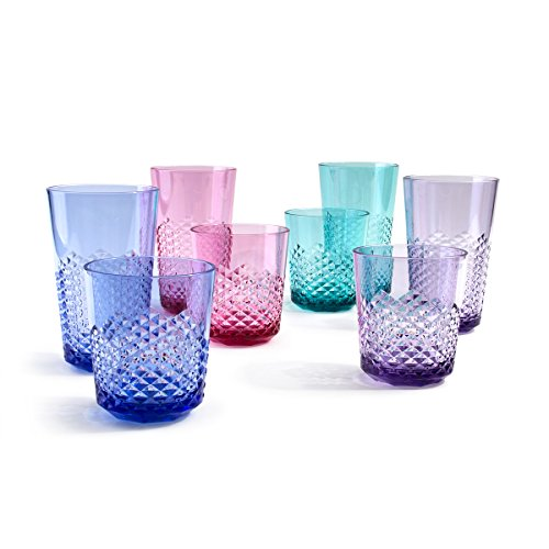 Cupture Diamond Plastic Tumblers BPA Free, 24 oz / 14 oz, 8-Pack (Assorted Colors)