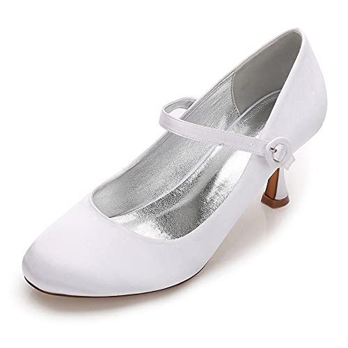 MNVOA Zapatos De Novia De Satén Mary Jane De Tacón Bajo con...