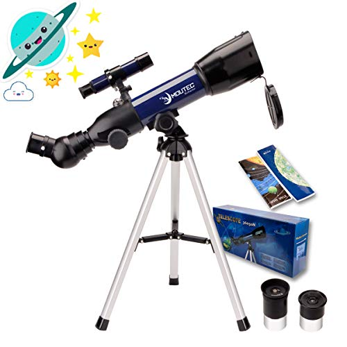 Moutec Simple Telescope for Kids and Beginners, 50mm Portable Travel Telescope, STEM Scientific Toy for Little Children Toddlers 5+, Ideal Birthday Space Gift