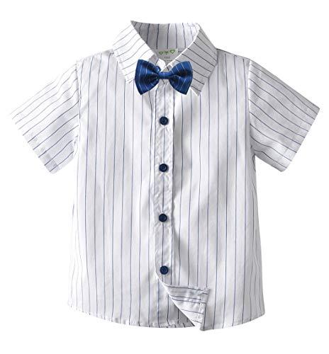LAUSONS Jungen Gestreift Hemd Kurzarm Kinderhemd mit Fliege 134-140