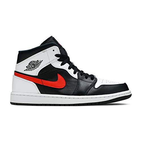 Nike Herren AIR Jordan 1 MID Basketballschuh, Black Chile Red White, 43 EU