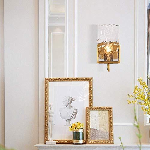HONYGE LXGANG Lámpara de pared de cristal de hielo cuadrado dorado 16 x 37 cm europeo moderno pasillo pasillo comedor sala dormitorio dormitorio estudiar alto sabor