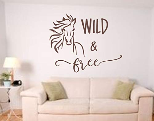 Paard Muursticker Wild en Gratis Geest Run Wild en Gratis Paard Decal Paard Muur Kunst