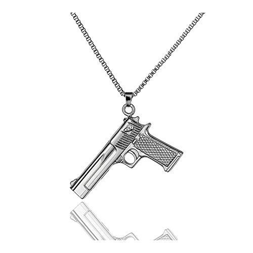 AdorabFruit Présent Pendentif Collar Colgante Pistola Punk gótico de la Vendimia for los Hombres Collar con Cadena Larga Accesorios Colgantes del Partido Collares (Metal Color : Gun Black)