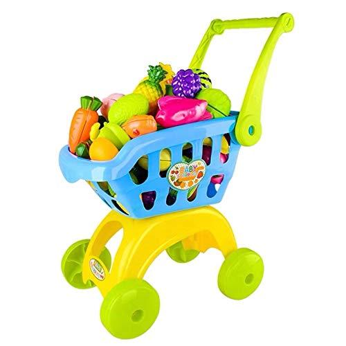 Hanlin Simulación de los niños Carrito de Compras Carro de Juguete Cortado supermercado de Frutas sobre Juguetes de Cocina en casa