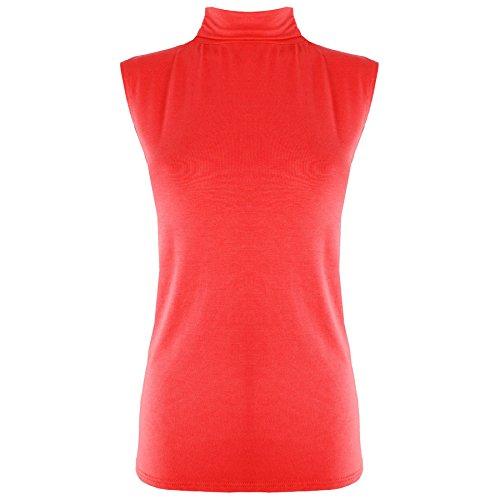 Damen Shirt Top Polo Ärmellos Einfarbig Rollkragen Figurbetont Weste, Mehrfarbig - Rot, M/L EU 40/42