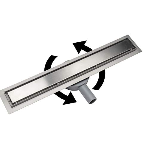 Acezanble Canletta di Scarico Canalina per Doccia Acciaio Inox Sifone a 360 per Pavimento Rettangolare Per Bagno Piastrllabile 60 cm