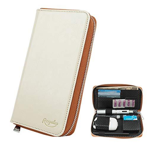 Design 新型11B PloomTECH ケース 電子タバコ ケース PloomS 収納 ケース 防水 大容量 スリム プルームテックプラス 収納 ケース 撥水性 衛生 電子タバコ 財布型 (ホワイト)
