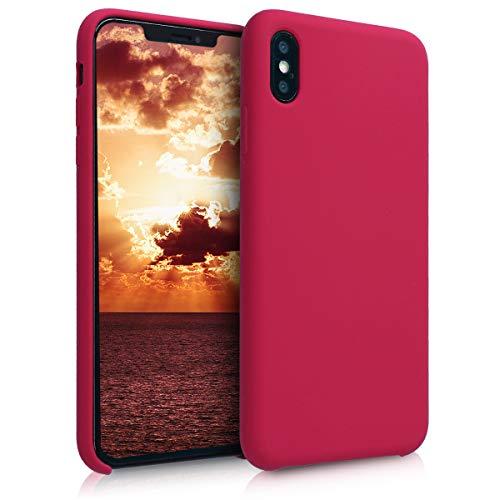 kwmobile Custodia Compatibile con Apple iPhone XS Max - Cover in Silicone TPU - Back Case per Smartphone - Protezione Gommata Fucsia Ciliegia/Rosso