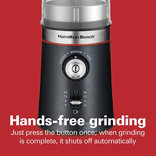 Hamilton Beach 10oz Electric Coffee Grinder with Multiple Grind Settings for up to 14 Cups, Stainless Steel Blades, Black (80393)