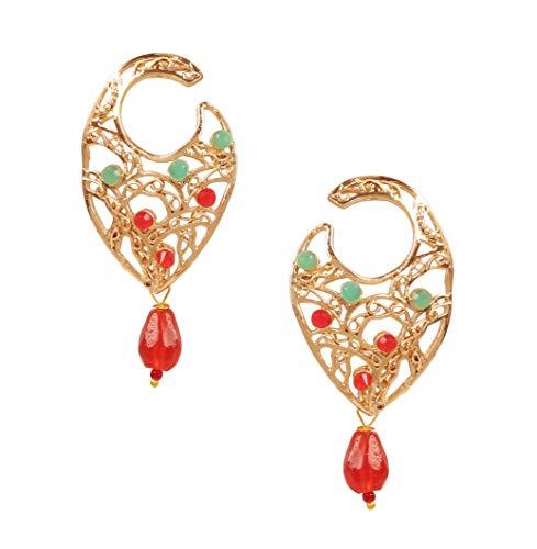 Touchstone Pendientes de joyería de diseño hecho a mano con filigrana de Bollywood india en oro antiguo y tono plateado para mujeres.