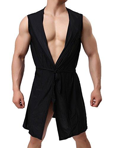 Haseil Men's Silk Kimono Bathrobe Hooded Sleeveless Open Front Sleepwear Pajamas, Black, TagsizeXL=USsizeL