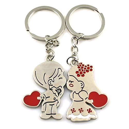 LIOOBO 2 Piezas Regalos Del Día de San Valentín Amor Parejas Llaveros Llavero Conjunto Personalizado Parejas Joyería Niña Y Niño Beso Coche Llavero