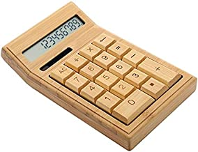 $37 » Bamboo Wooden Solar Calculators Desktop Calculator with 12-Digit Large Display, Dual Power, Standard Function Scientific Electronics Desktop Calculators, Handheld for Daily and Basic Office