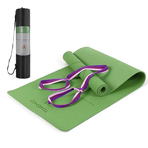 TOMSHOO+ Esterilla de Yoga Antideslizante,Esterilla de Gimnasia con Material Ecológico TPE y Línea Auxiliar, Bolsa,Bandolera183cm x 61cm x 0.6cm (Verde)