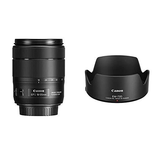 Canon Zoomobjektiv EF-S 18-135mm F3.5-5.6 is USM für EOS (67mm Filtergewinde, Autofokus, Bildstabilisator) schwarz & EW-73D Gegenlichtblende für Kamera - Schwarz