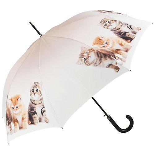 VON LILIENFELD Regenschirm Katzentrio Auf-Automatik Kätzchen Stabil Damen Kinderschirm Stockschirm
