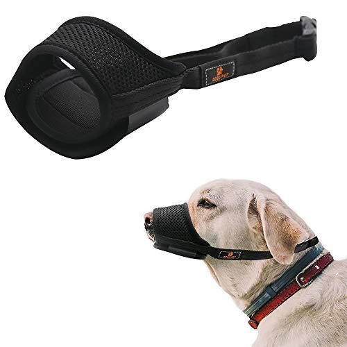Hundemasken, atmungsaktives Netzgewebe und strapazierfähige Hundemasken aus Nylon mit verstellbaren Trägern, um Bisse, Bellen und Kauen zu verhindern und Schutz für Tiere zu bieten. Schwarz (XL)