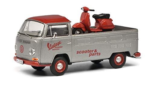 Schuco 450333000 VW T2a Vintage Scooter Service, Pritsche con PX Roller, Modelo de Coche, Escala 1:43, edición Limitada