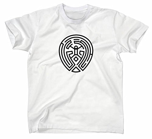 Westworld The Maze Labyrinth Logo Zeichen Sign T Shirt Fanshirt Fan TV Serie, M, weiss