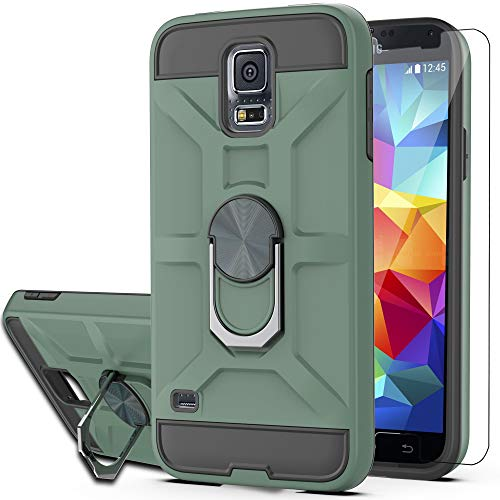 Galaxy S5 Case,Galaxy S5 Phone Case with HD Screen Protector YmhxcY 360 Degree Rotating Ring Kickstand Holder Dual Layers of Shockproof Phone Case for Samsung Galaxy S5 (I9600)-ZS Dark Green