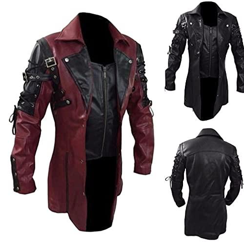 Steampunk Jacke Biker Lederjacke Herren Vintage Motorrad Jacket Lang Mantel Gothic Punk Gehrock Kunstlederjacke Muster Bikerjacke Oversize Cosplay Kostüm für Halloween Maske Party Winterjacke